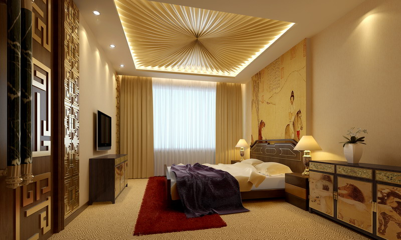 Custom upholstered ceiling, custom furniture, use of bright color