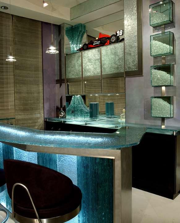 Glass sculpture, glass bar, custom cabinetry
