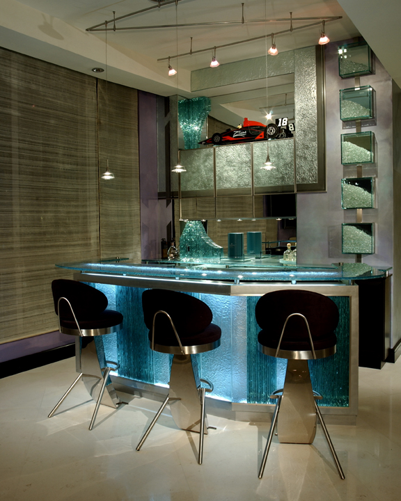 Custom bar, Glass, Back lit, custom cabinetry