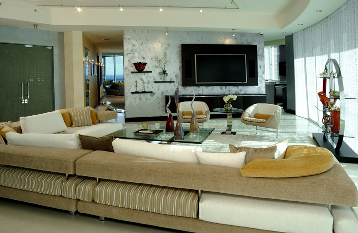 Contemporary furniture, faux finished walls, stainless and glass table, custom furniture