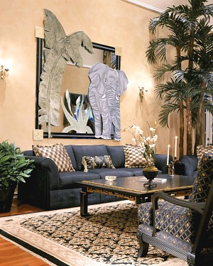 Hardwood floors, faux finish walls, custom sofas and chairs, natural plants