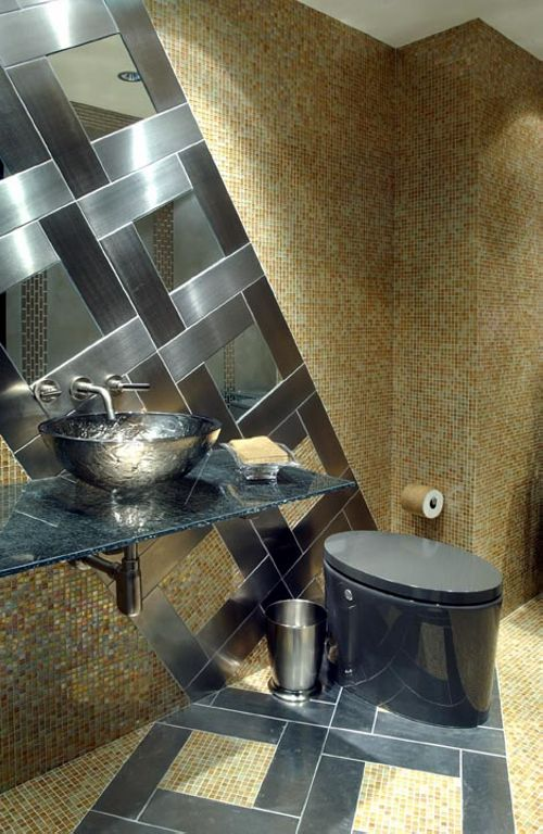 Glass mosaic, stainless steel mosaic