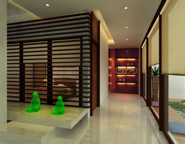 Custom shoji panels, stone flooring, custom wood cabinetry