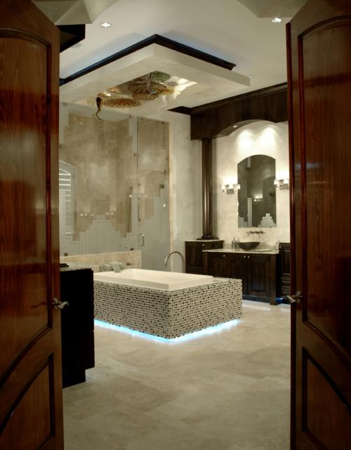 Custom Cabinetry, Marble floors and walls, Glass tub surround