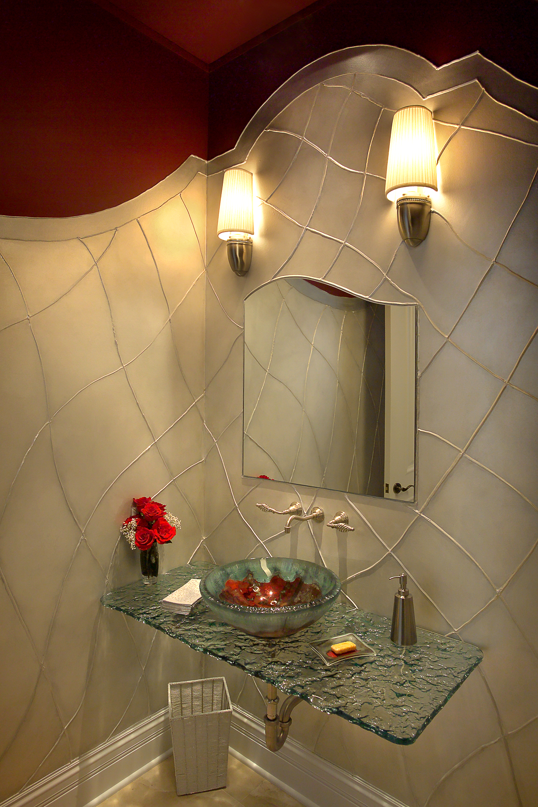 custom glass, glass lavatory sink, faux finish, unique mirror