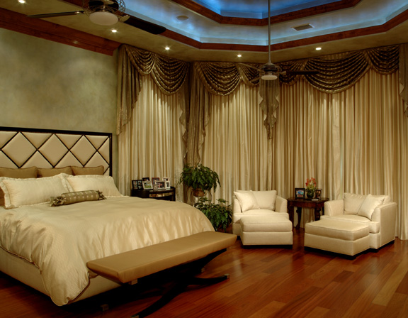 custom lighting, automatic draperies, upholstered bed