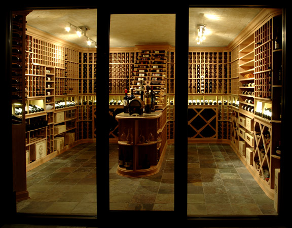 Custom wine racks, chilled room, custom lighting