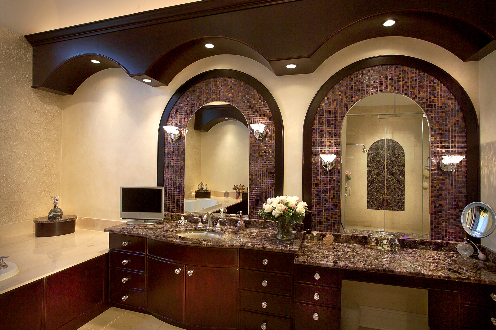 custom cabinetry, glass mosaics, precious stone