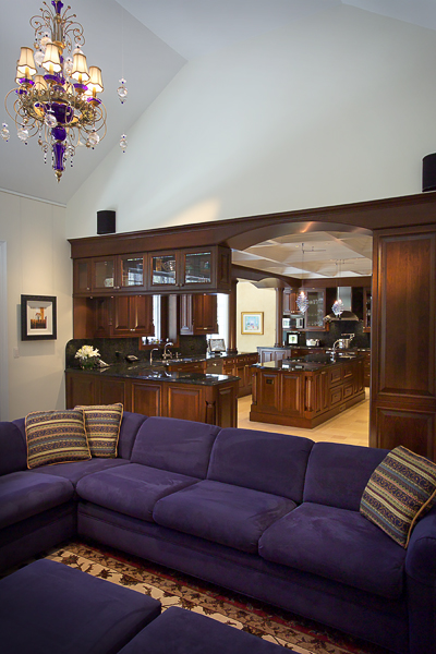 Custom wood cabinetry, custom furniture, stone floors