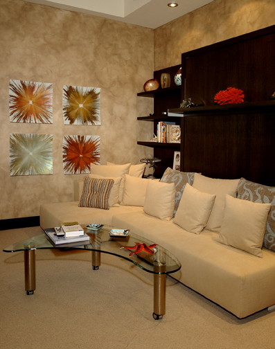 Faux finish walls, custom artwork, murphy bed, upholstered sofa
