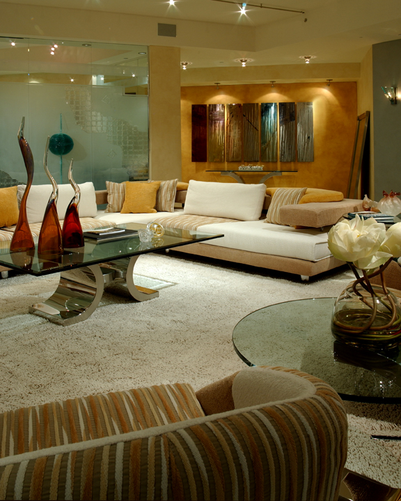 Custom Glass, Custom furniture, original works of Art, specialty lighting.